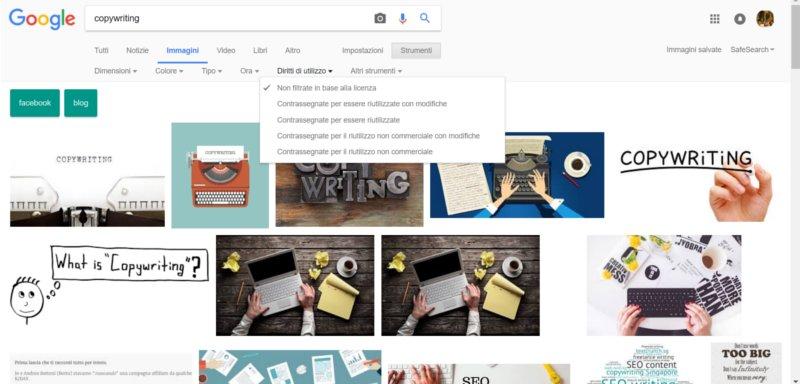 filtro diritti immagini Google